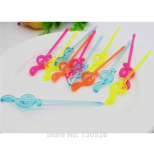 New 100pcs Colorful Plastic Musical Note Shape Food Fruit Fork Picks Set for Party Cake Dessert