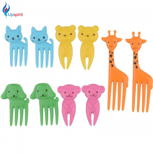 New 10pcs pack Animal Farm Mini Cartoon Fruit Fork Sign Plastic Fruit Toothpick Bento Lunch For