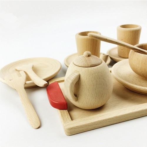 PINJEAS Pretend Play Tea set Wooden Educational Activity Grasping Montessori Toddler Learning Game Waldorf Inspired Toy