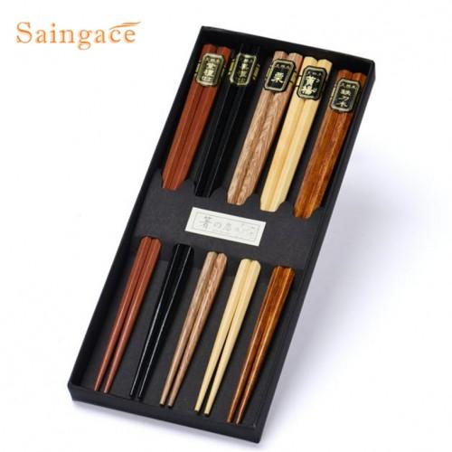 Saingace 5Pairs Japanese korean reusable chopsticks Natural Beech Wood Chopsticks Chinese Set Handmade Gift Pack u6824