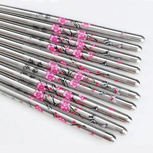 Stainless Steel Flower Chopsticks Pattern Kitchen Dinnerware 5 Pair set Chinese Style Dinning Chopsticks.jpg 640x640