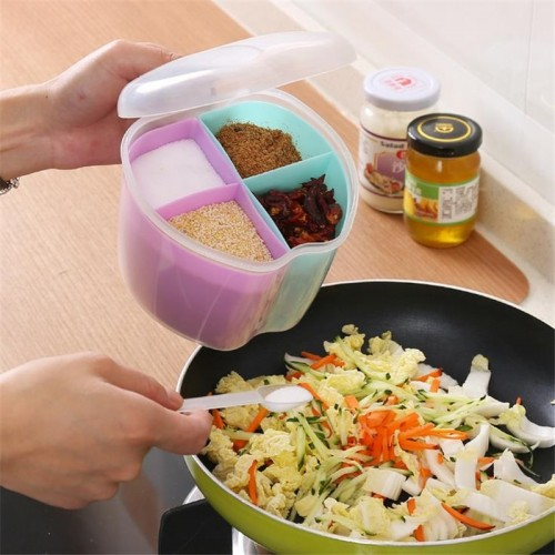 DoreenBeads Random Color Plastic Storage Spice Jar Box Kitchen Tools Seasoning Storage Cans Container 3 Styles