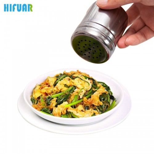 HIFUAR Stainless Steel Spice Jar Salt Sugar Spice Pepper Shaker Seasoning Can Rotating Cover Multi purpose