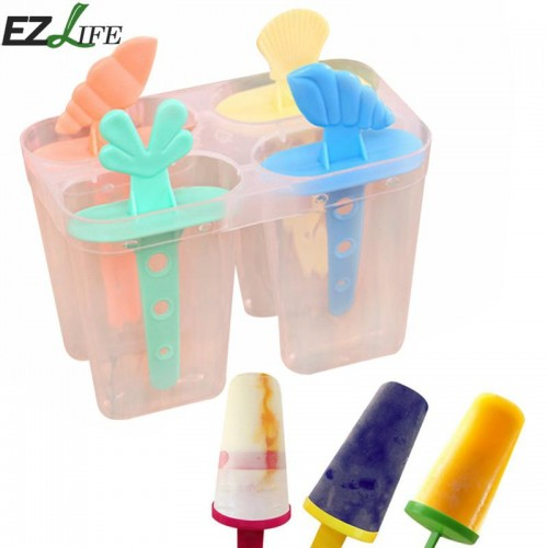 4 Cavity Ice Mold Plastic Ice Cream Mold With Sticks Useful Popsicle Ice Cream Maker Summer