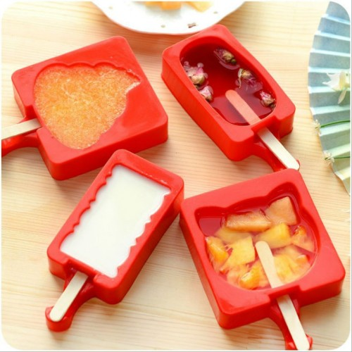Cartoon DIY Silicone Ice Cream Mold Popsicle Molds Popsicle Maker Holder Frozen Ice Mould with Popsicle