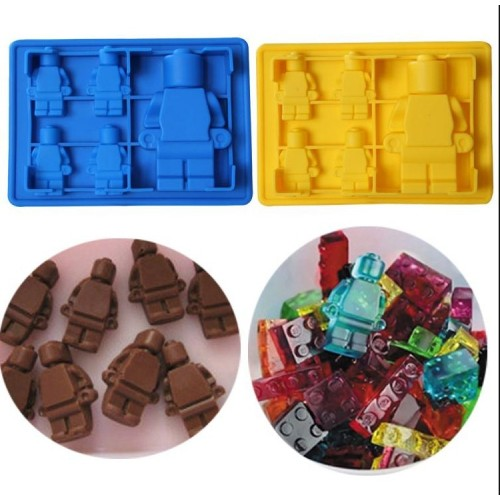 Fun lego man robot Cocktails Silicone Mold Ice Cube Tray Chocolate Fondant Mould diy