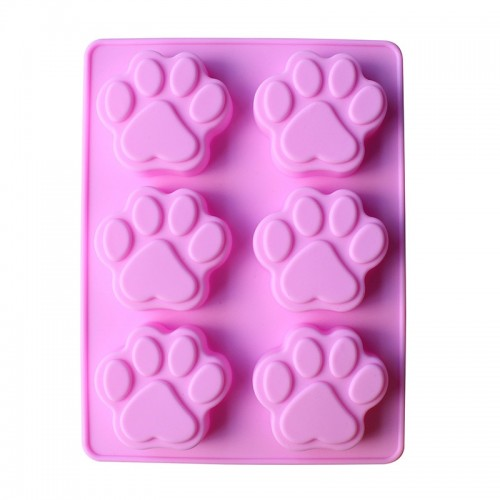 Sixth Puppy Footprints Silicone Cake Mold 6 Cat Claw Handmade Soap Mould Ice Cubes Makers