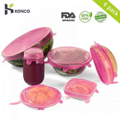 KONCO Silicone Stretch Lids 6Pack Shape Cover for Bowl Container Microwave Refrigerator Food Wrap Bowl Pot