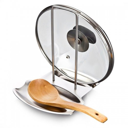 Stainless Steel Pan Pot Rack Cover Lid Rest Stand Spoon Holder Home Applicance The Goods For
