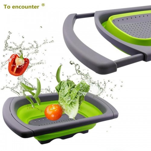 Two Forms a Set Collapsible Kitchen Colander Fruit Vegetable Strainer Drainer Washing Basket Plastic Drain Vegatable
