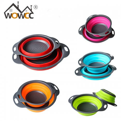 WOWCC Foldable Silicone Colander Fruit Vegetable Washing Basket agic Basket Strainer Collapsible Drainer Kitchen Tools Gadget