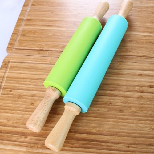 Newcomdigi Non stick Silicone Wood Rolling Pin Cake Dough Roller Pizza Pasta Baking Kitchen Cooking Tools.jfif