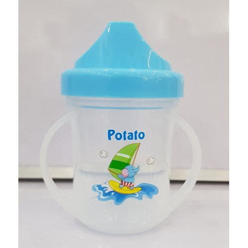 Transparent Cartoon Heat Resistant Handle 180ml Water Cup Learning Drink Sippy Baby Cup