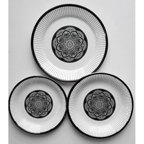 Set Of Three Printed Dinner Plate Dish Decorative Salad Fruit Wedding Plate Dinner Glazed Melamine Small Medium Large Size