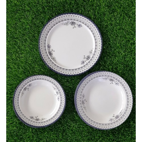 Set Of Three Printed Dinner Plate Dish Decorative Salad Fruit Wedding Plate Dinner Glazed Melamine