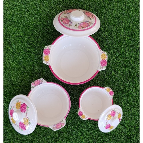 Set Of Three Pieces Crockey Dinner Set Bowls Home Kitchen Glazed Melamine High Quality