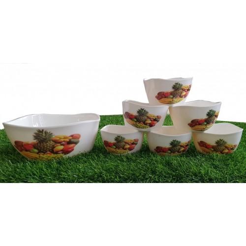 Set Of Seven Pieces Crockey Custard Eating Bowls Set Home Kitchen Glazed Melamine High Quality
