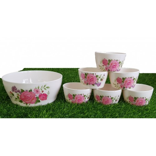 Set Of Seven Pieces Crockey Custard Eating Bowls Set Home Kitchen Glazed Melamine High Quality