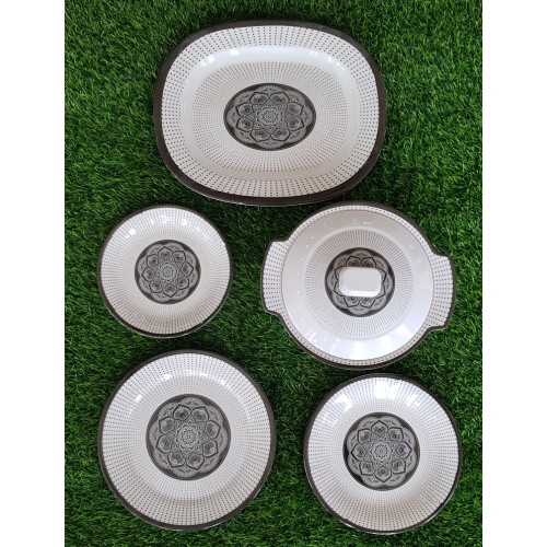 Set Of Five Glazed Melamine Home Kitchen High Quality Dinner Set