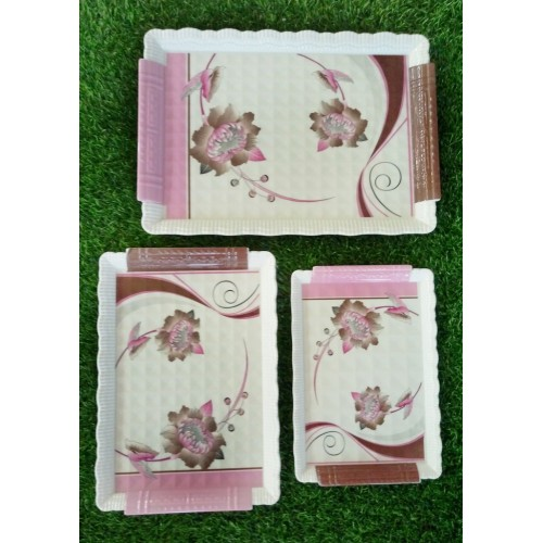Set Of Three Pieces Tea Trays For Home Kitchen Food Dinner Trays Fruit Pallets Serving Trays Glazed Melamine