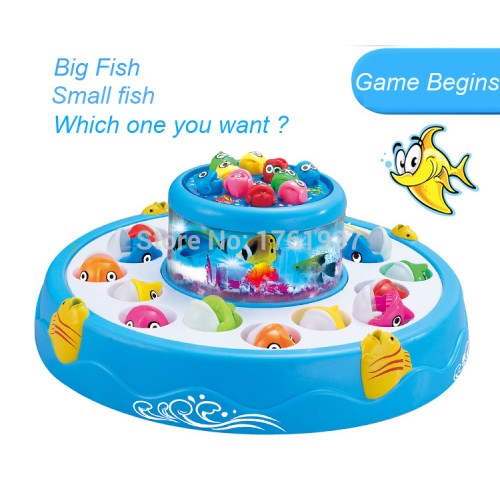 26pcs/set Fishing Toy Electric Educational Rotating Magnetic Magnet Fish Fishing for Kid Children Game