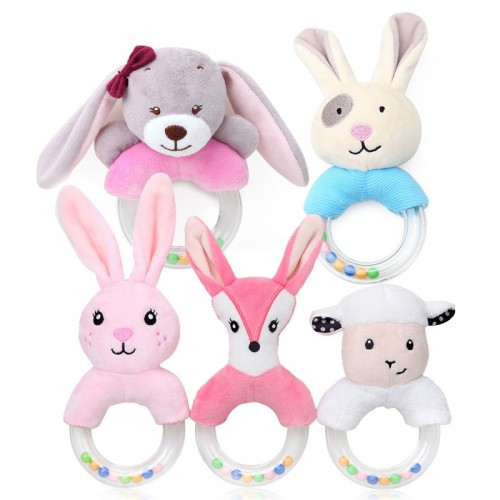 Cute Plush Baby Pram Cart Toys Cartoon Baby Rattle Toy for Newborn Mobile Educational Toy Hand