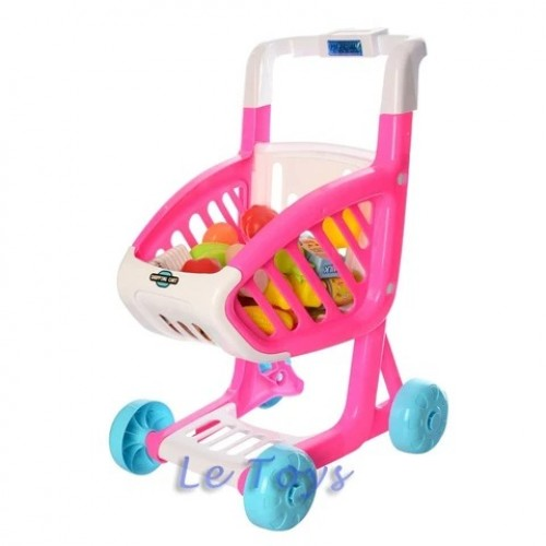 Pretend Play Shopping Cart For Kids 41 pcs Of  Fruits and Vegetables