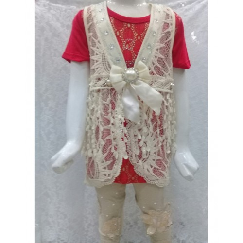 3 Piece Girls Dress with T-shirt, Coat and Trouser