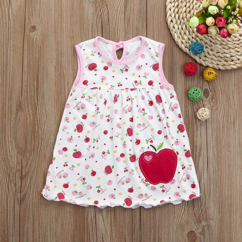 Pink Fashion Toddle Baby Girls Apple Printed Party Dress