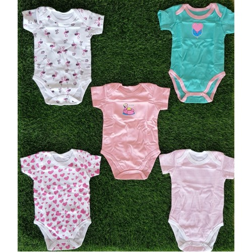 Pack Of Five Short Sleeve 100% Cotton Body Suit For Baby Girls HIgh Quality