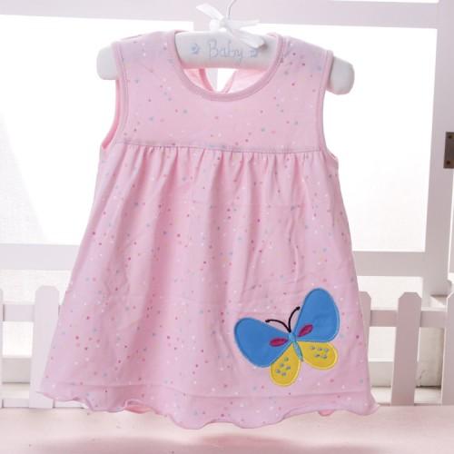 Pink Multi Dots Baby Girl Sleeveless Printed Frock
