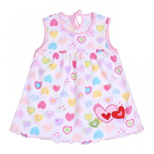 Multi Hearts New Fashion Toddler Baby Girls Beach Style Printed Princess Dress