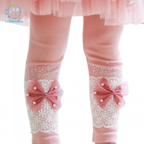 Cotton Leggings Girls Kids Lace Bow Skinny Trousers Children Pants