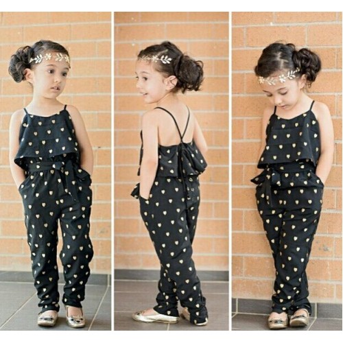 Fashion baby girl sling clothes girl summer style strap heart shaped onepiece jumpsuit