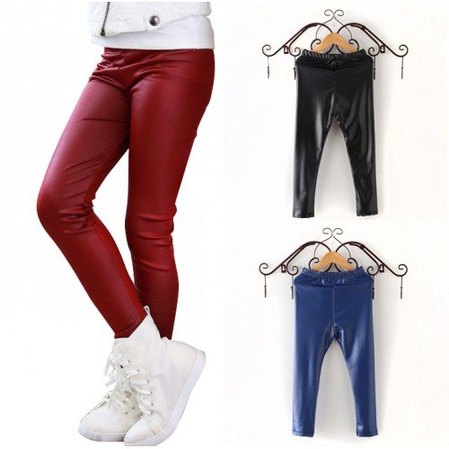 Girl Clothing Kid Fake Leather Pants Girl Leggings Baby Child Faux Leather Pants Kid Skinny Solid