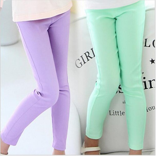 Girls Candy Color Leggings Kids Casual Pants Girls Elestic Waist Trousers