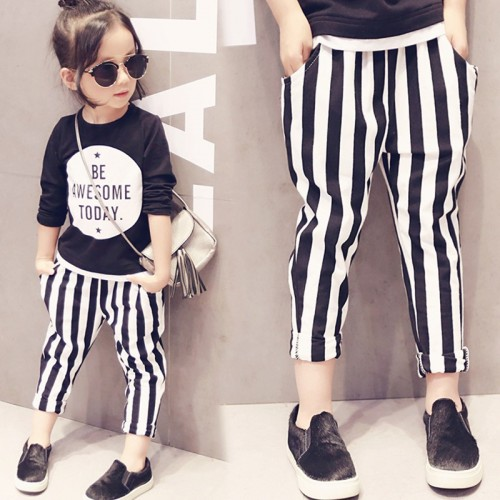 Girls Classic striped black and white striped pants Haren small children long