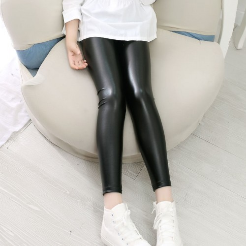 Girls Faux Leather Leggings Children Pants Leather Girls Pants