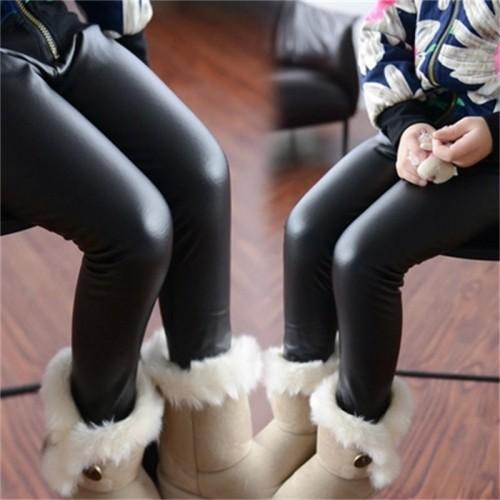 Girls Leggings Children s Clothing Baby Kids Leather Pants Solid Black Navy Skinny Toddler