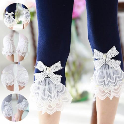 Girls Leggings Summer Style Children s Clothing Calf length Baby Mesh Spliced Bow Lace Leggings