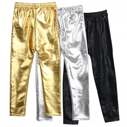 New style Spring and Autumn 4 8years skinny Gold Black Red Silver kid leather pants