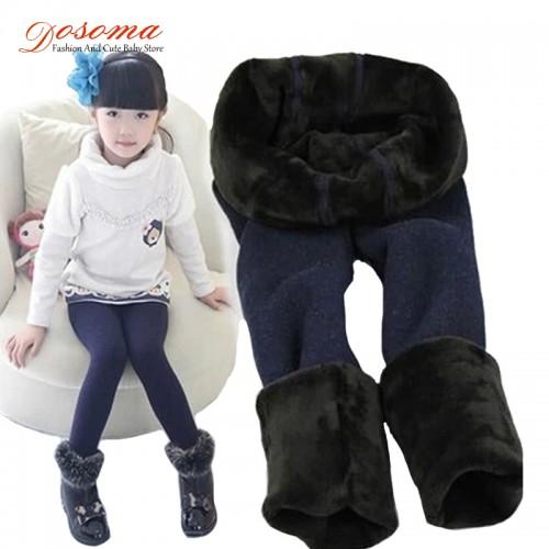 New winter spring fur leggings for girls children pants kids thick warm elastic waist plus velvet