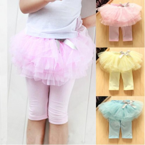 Quality Princess Girl Kids Culottes Leggings Gauze Pants Party Skirts Bow Tutu Skirt