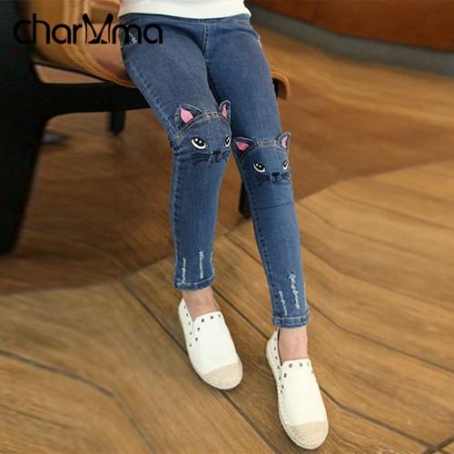 Spring Fashion Kids Girls Jeans Pants Girls Leggings Cartoon Cat Children Pencil Pants Long Trousers