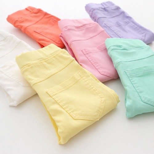 Spring Summer Fashion Children Pants Candy Color Pencil Girls Pants