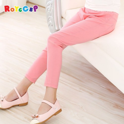 Spring Summer Girls Pencil Pants Fashion Candy Color Children Pants