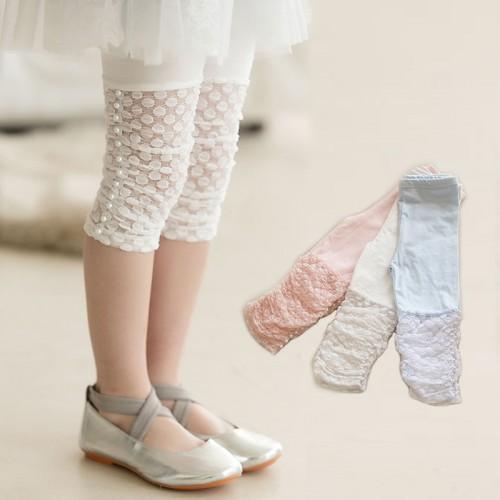 Summer Girls Leggings Pants Lace cotton Children Clothing Flower Girl Knee Pants