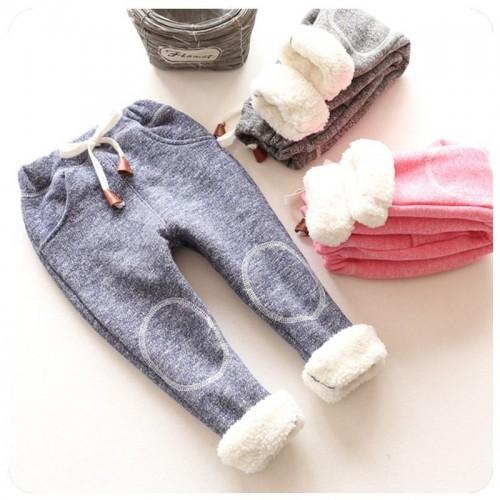 autumn children casual trousers baby girls plus thick velvet pants kids girl winter