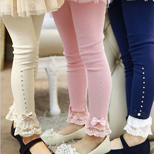 children girls spring fall pink blue beige lace trim ruffle rhinestone leggings