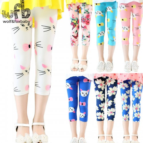color print footless girls knee length capri pants Cropped clothing kids leggings